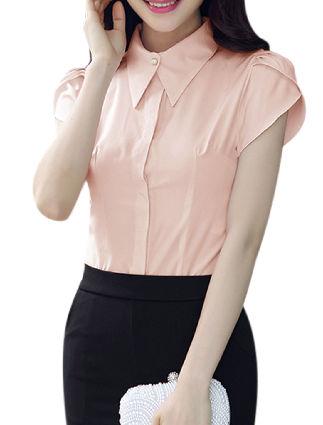 Lady Petal Sleeves Turn Down Collar Concealed Button Closure Shirt Pink M