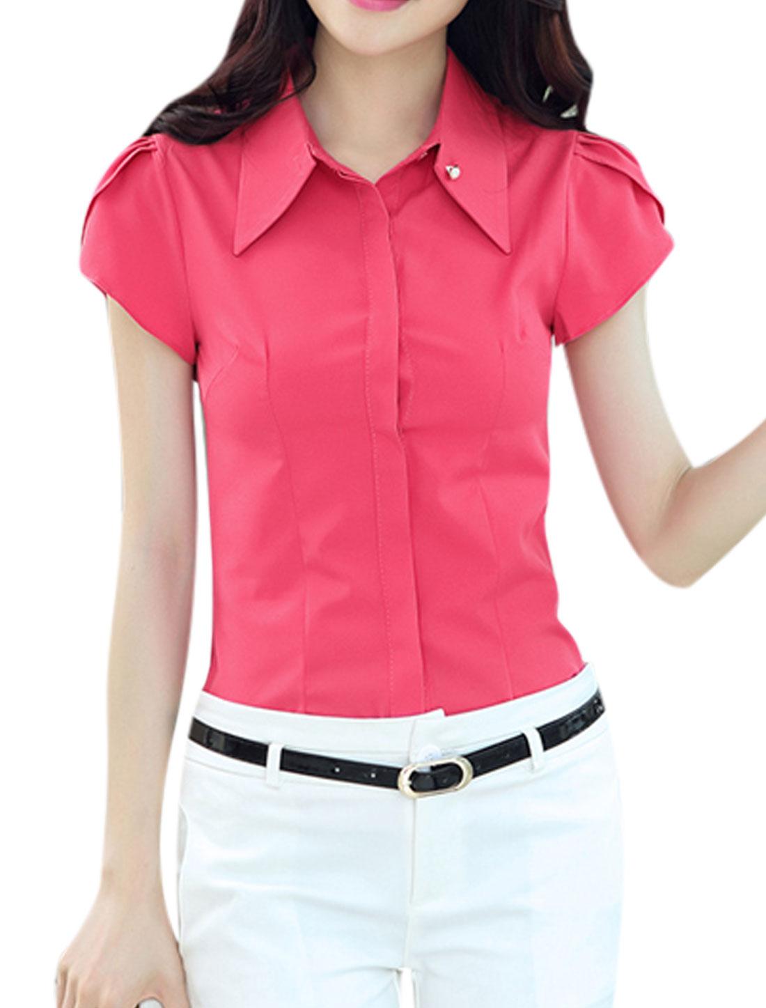 Woman Petal Sleeves Turn Down Collar Hidden Button Closure Shirt Fuchsia M