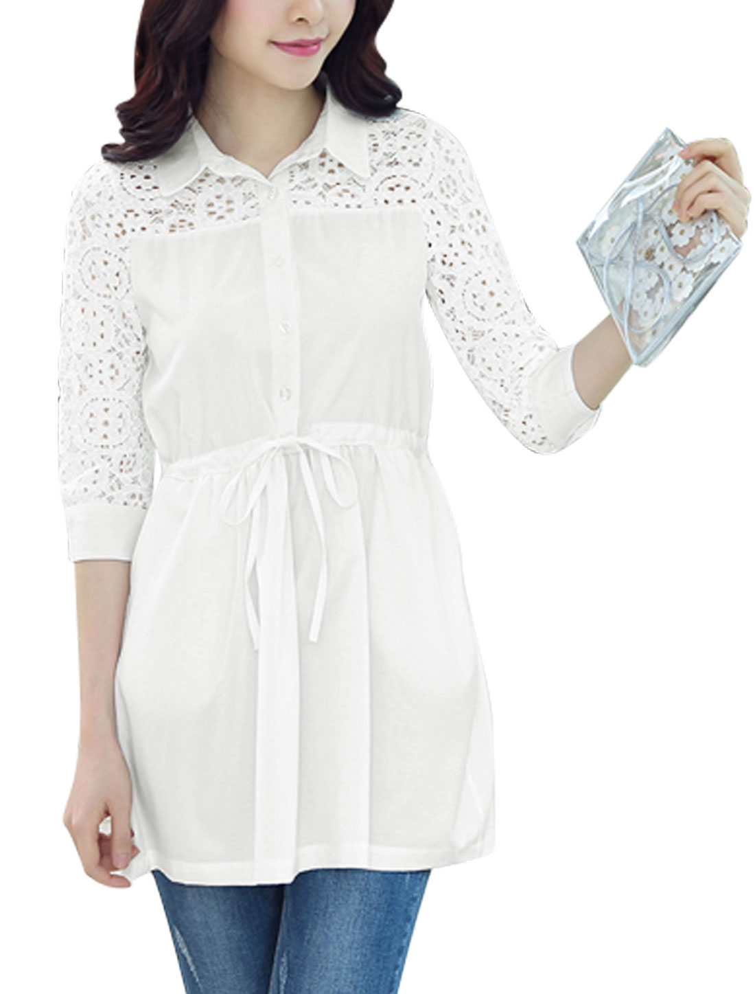 Women Point Collar Half Placket Semi Sheer Yoke Lace Shirt Dress White S