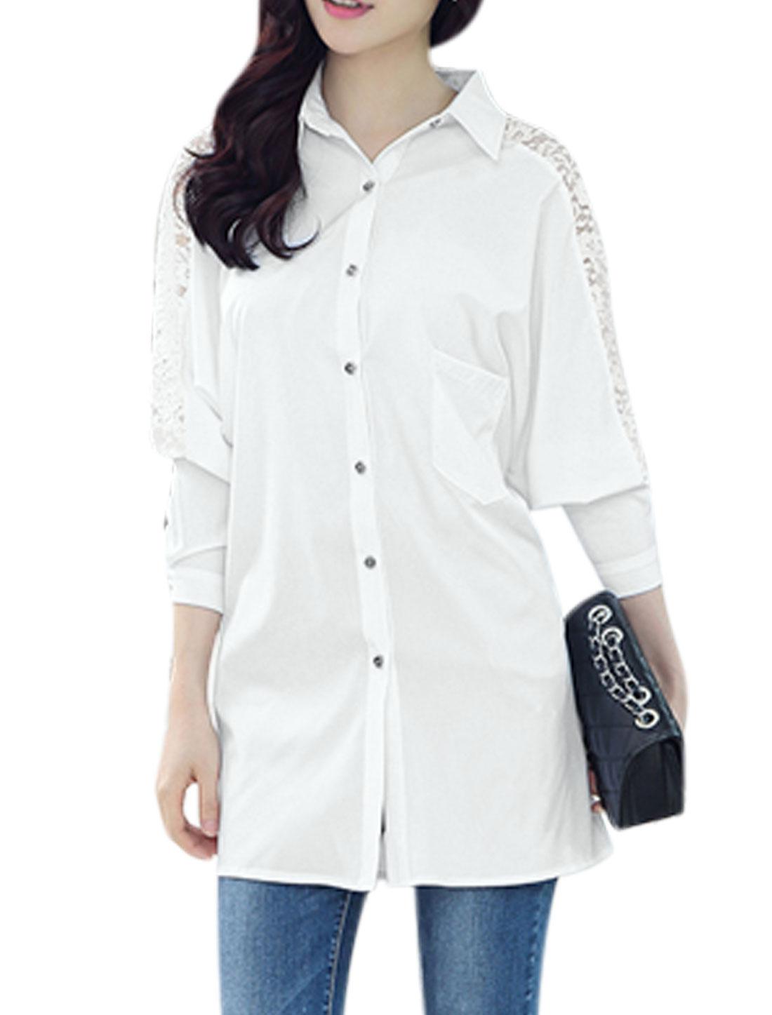 Woman Lace Panel Long Raglan Sleeves One Chest Pocket Tunic Shirt White M