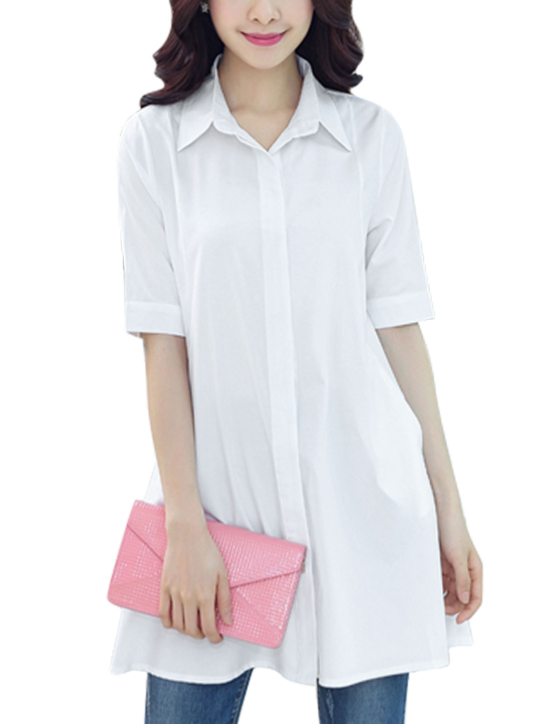 Ladies Button Down Half Sleeve Point Collar Loose Longline Blouses White S