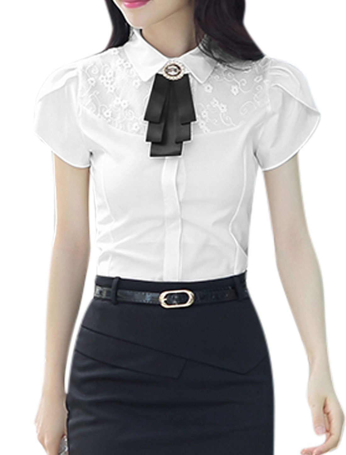 Woman Floral Design Organza Panel Petal Sleeves Shirt w Bow Tie White M