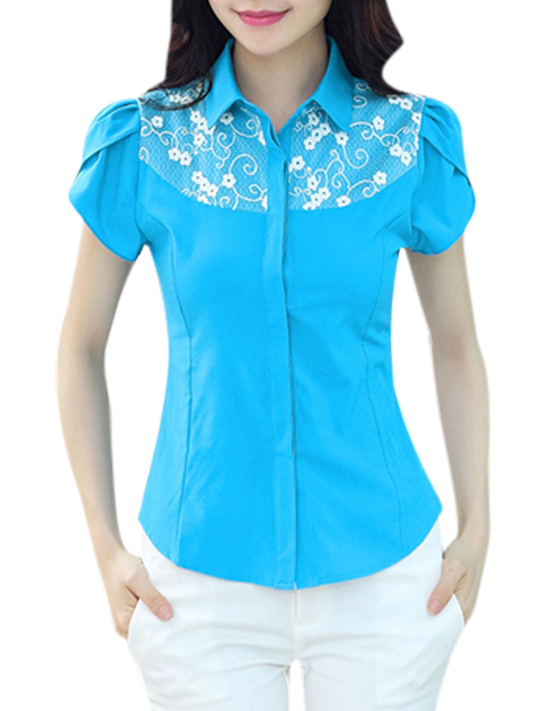 Woman Floral Design Organza Panel Button Down Shirt w Bow Tie Blue M