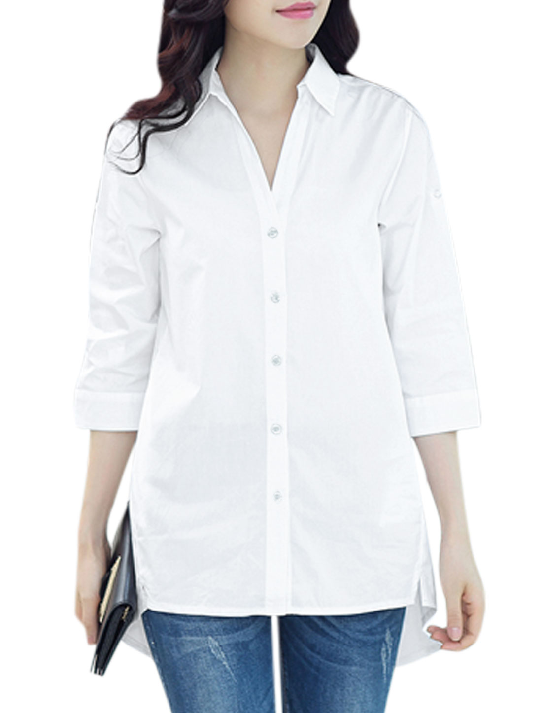 Woman Front Placket 3/4 Rolled Sleeves High Low Hem Tunic Shirt White M
