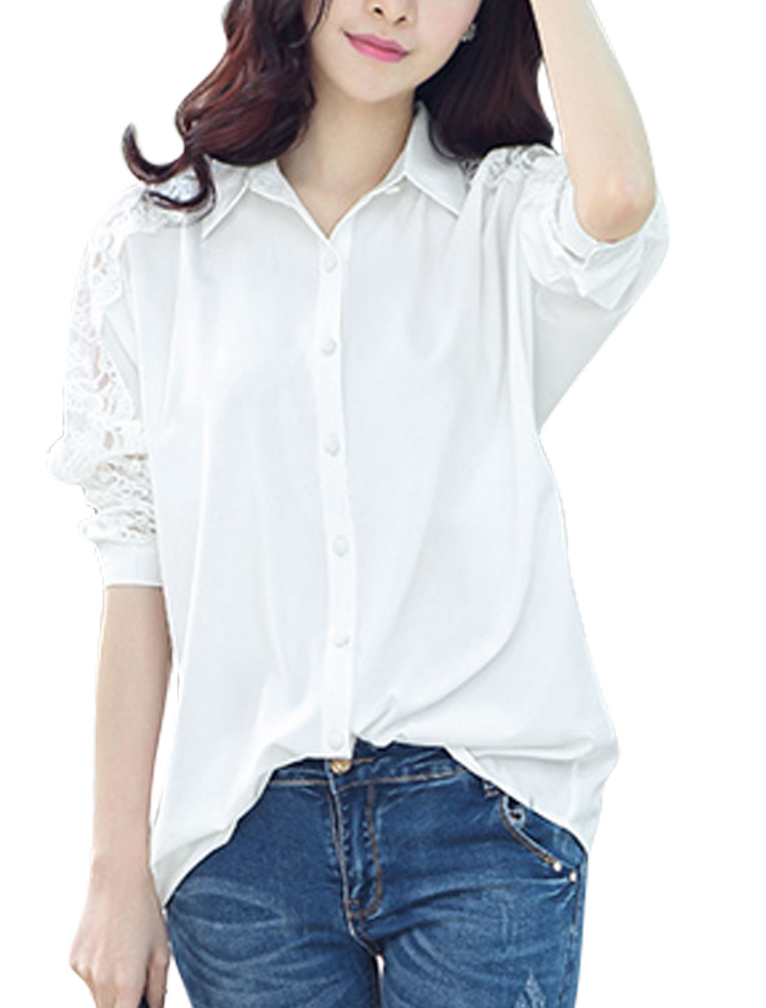 Ladies Point Collar Lace Panel Button Down Semi Sheer Sleeve Tunic Shirt White M