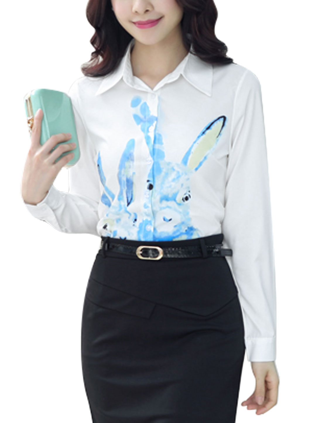 Women Long Sleeve Point Collar Rabbit Print Casual Button Down Shirt White M