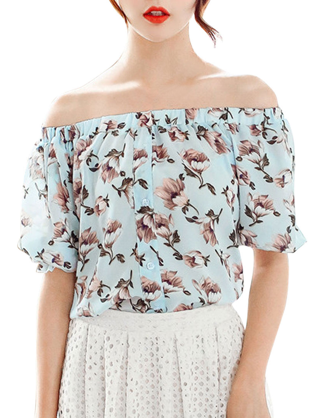Woman Floral Prints Off The Shoulders Short Sleeves Chiffon Top Light Blue XS