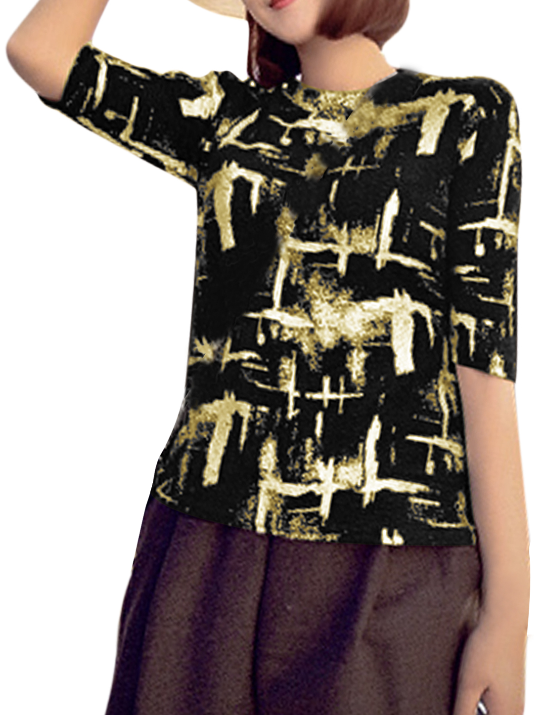 Woman Shining Novelty Pattern Round Neck Elbow Sleeves T-shirt Gold Tone S