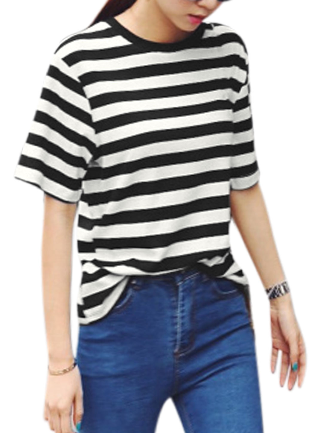 Woman Stripes Ribbed Round Neck Short Sleeves Tee Black White XS
