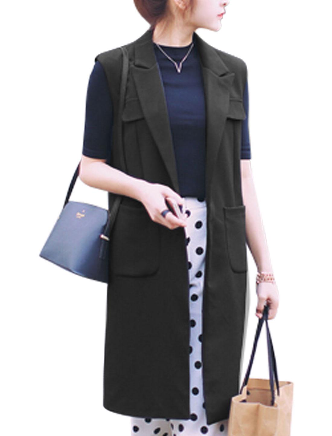 Women Peaked Lapel Sleeveless Open Front Split Back Long Vests Black S