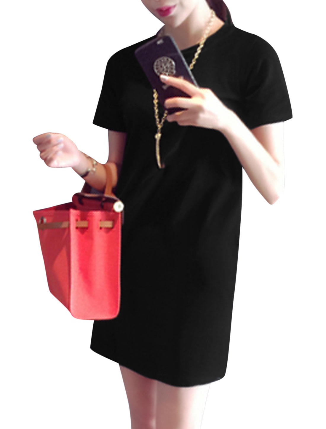 Woman Round Neck Short Sleeves Casual Shift Dress Black S