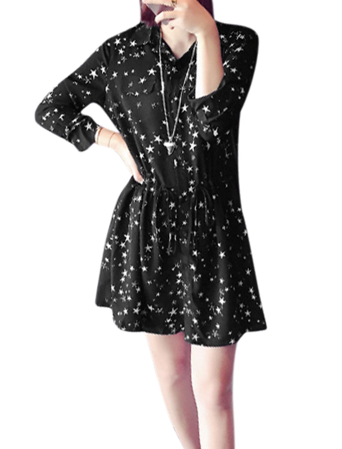 Women Point Collar Stars Prints Long Sleeves Chiffon Shirt Dress Black XS