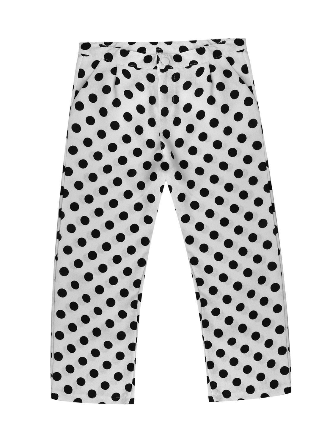 Woman Polka Dots Prints Button Closure Zip Fly Capris Pants White M