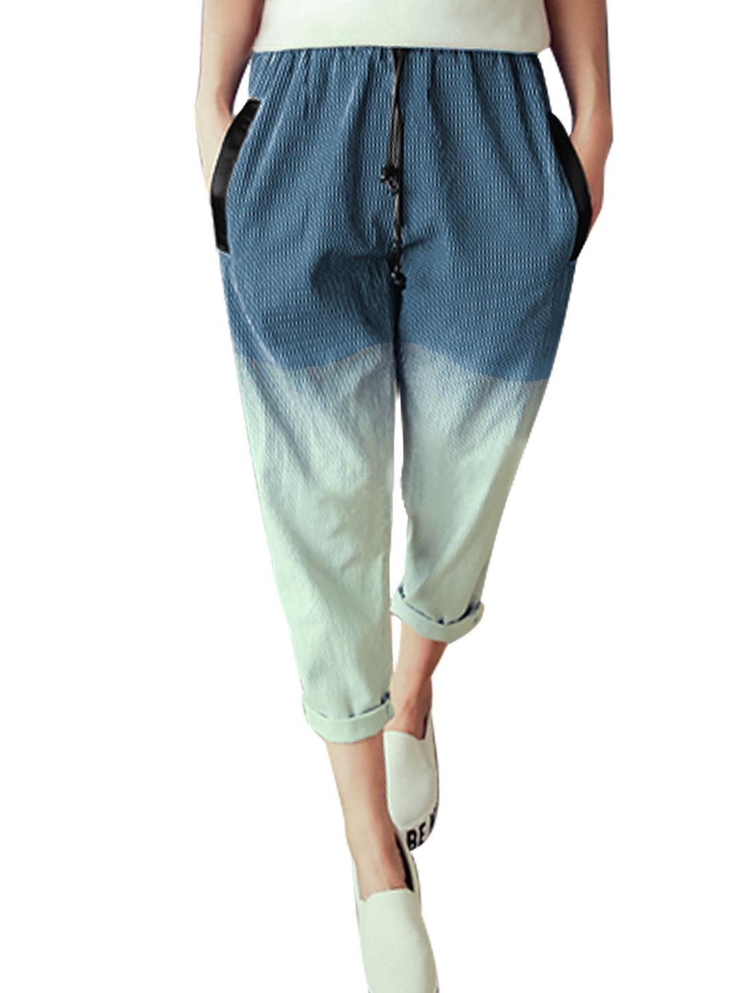 Women Drawstring Waist Stripes Pockets Dip Dye Cropped Pants Navy Blue Mint XS