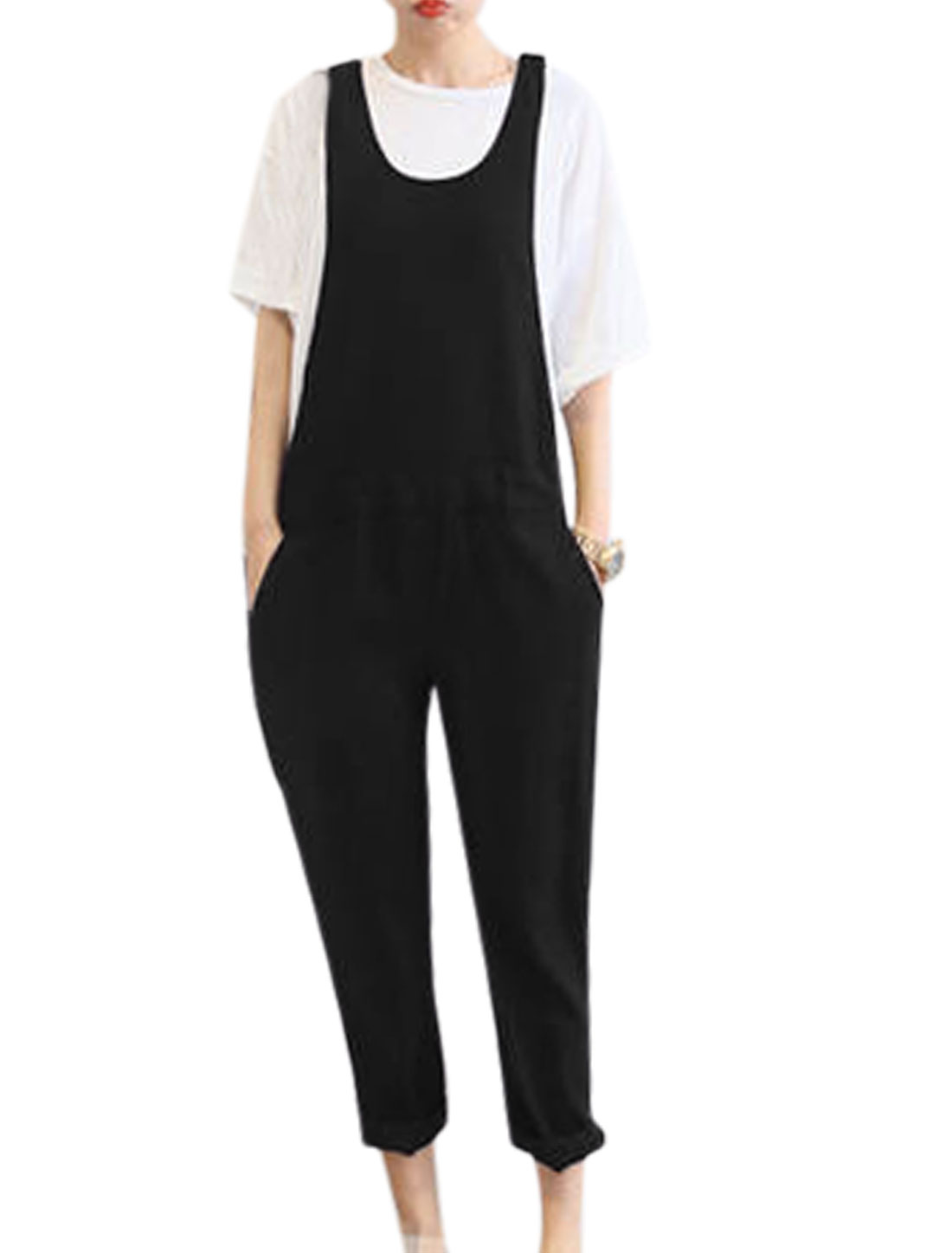 Woman Scoop Neck Sleeveless Belt Loop Concealed Zipper Jumpsuits Black S