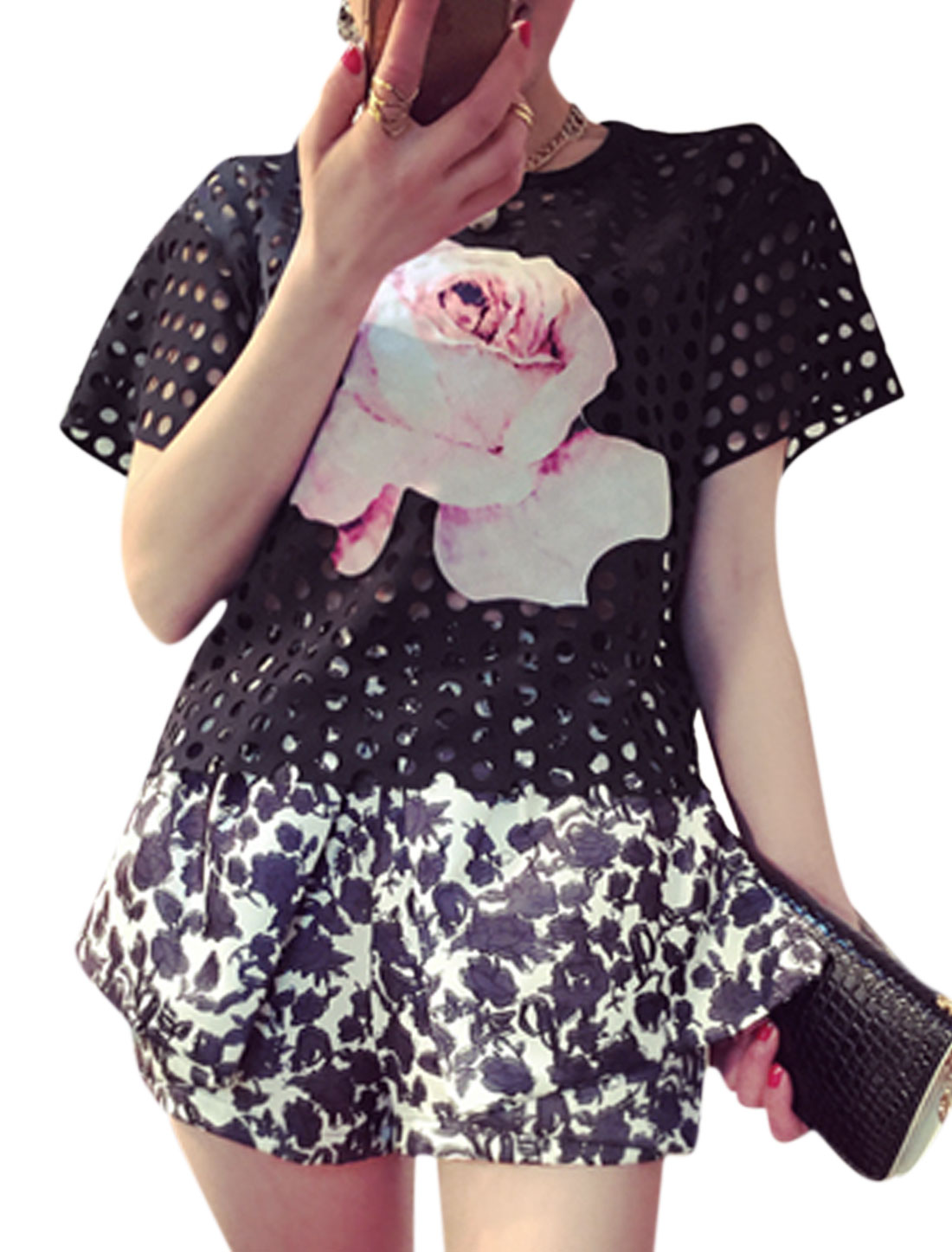 Women Round Neck Short Sleeves Flower Applique Hollow Out Mesh T-Shirts Black XS
