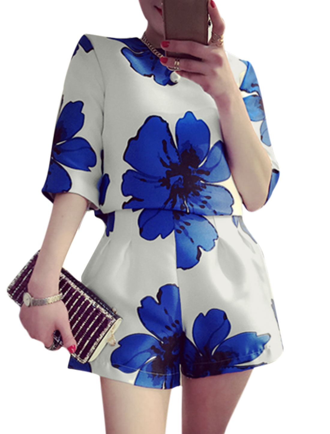 Woman Floral Prints Elbow Sleeves Top w High Waist Shorts White XS