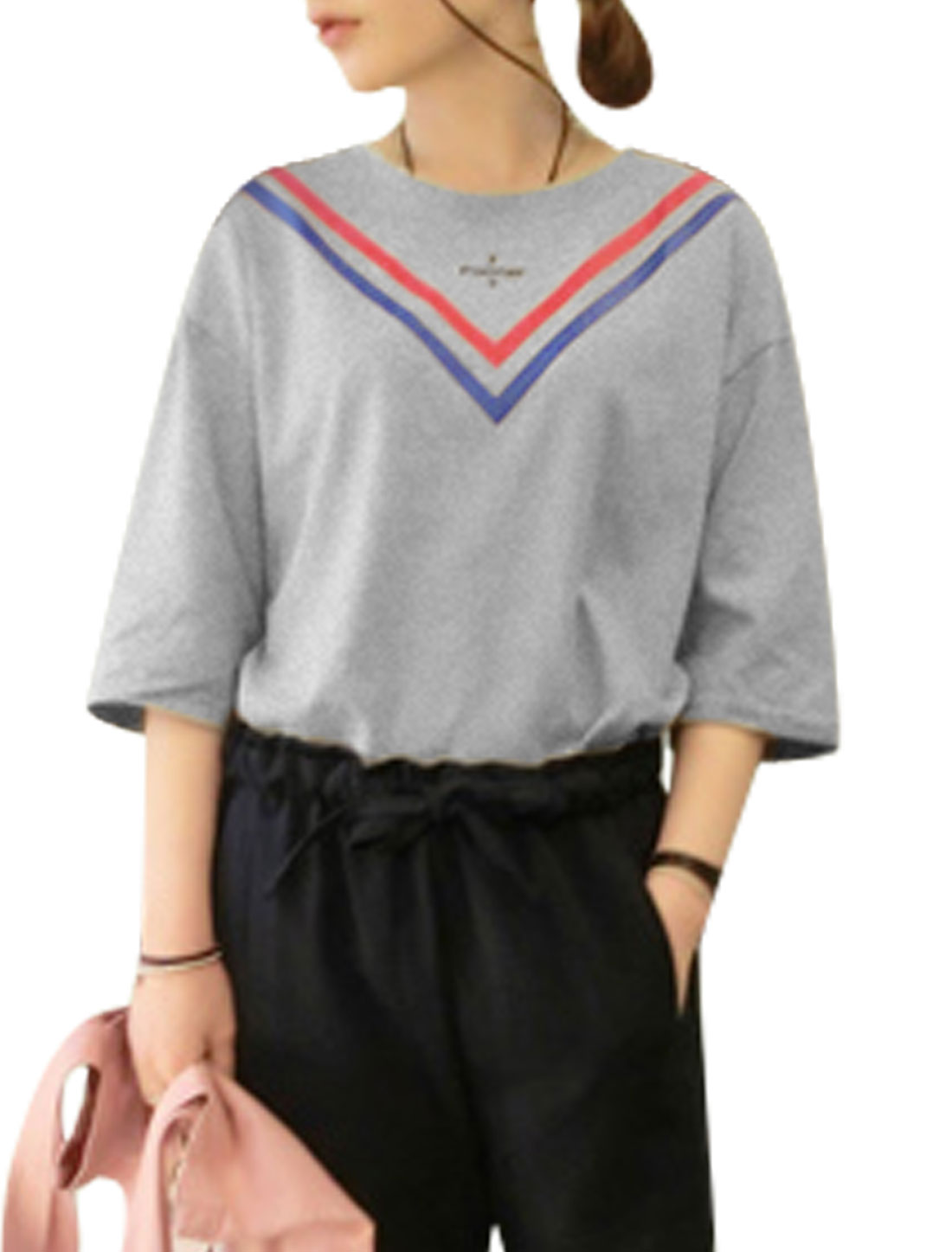 Woman V Pattern Round Neck 3/4 Sleeves Slipover Casual Tee Gray XS