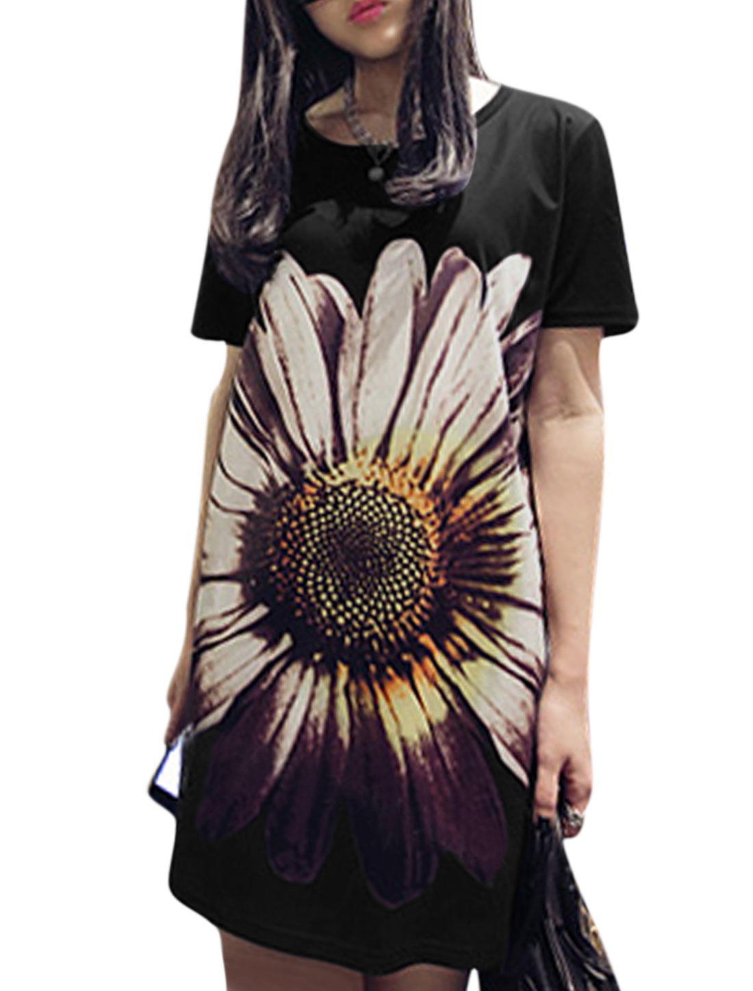 Women Round Neck Short Sleeves Floral Prints Casual T-Shirt Dress Black XS