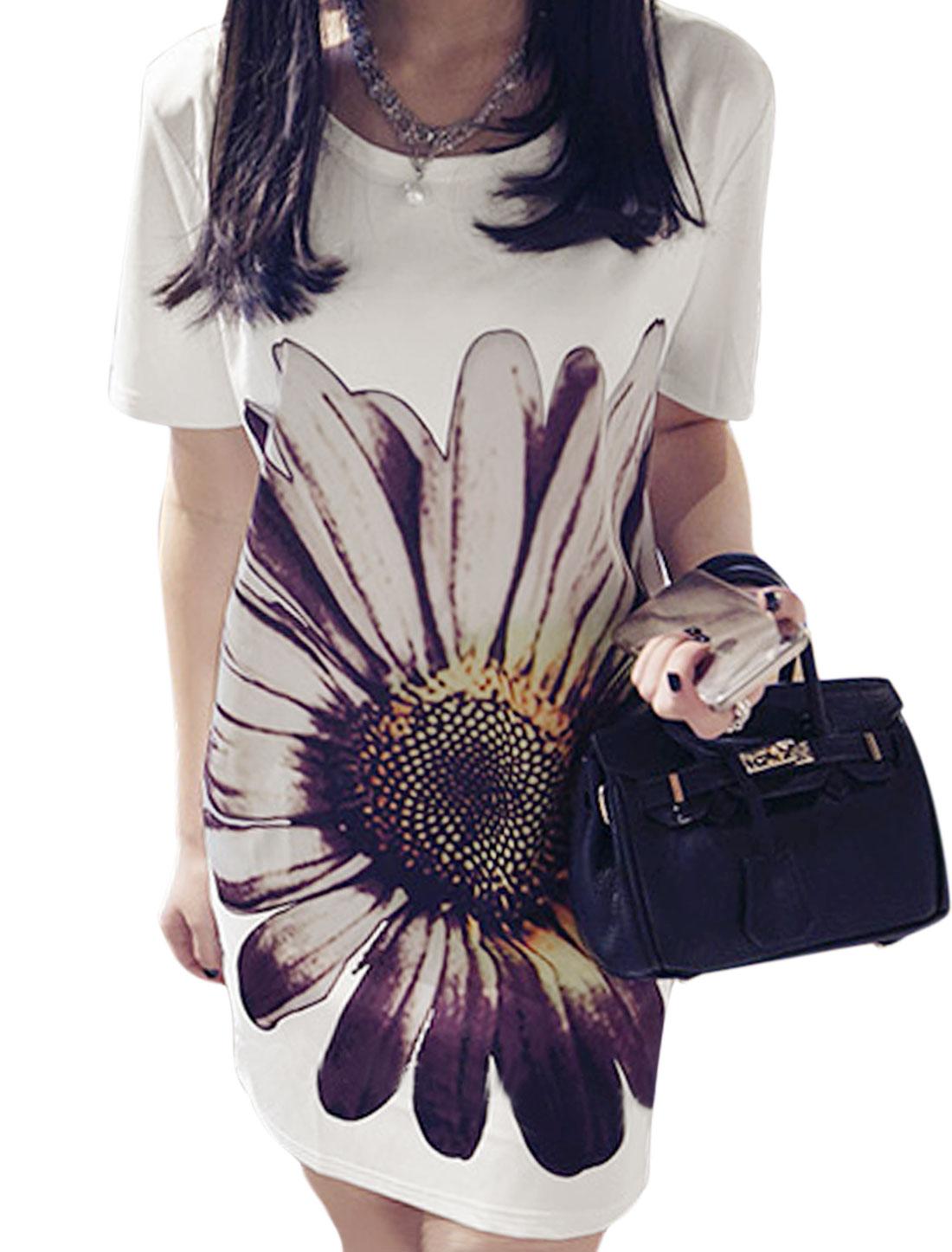 Ladies Round Neck Short Sleeves Flower Prints T-Shirt Dress White XS