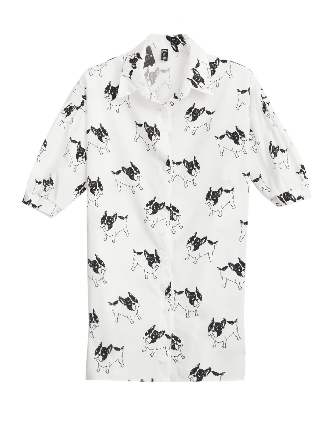 Woman Dogs Pattern Button Down Short Sleeves Casual Tunic Shirt White XS