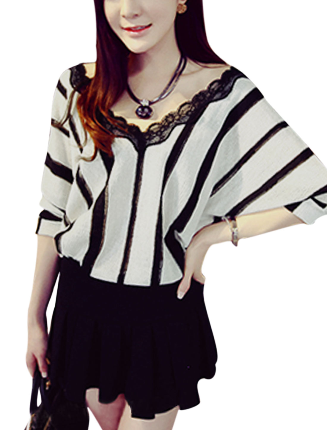 Woman Vertical Stripes Lace Trim Batwing Sleeves Panel Top Black White XS
