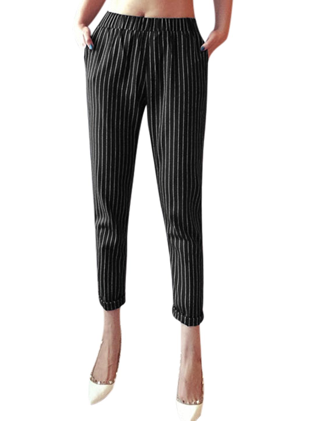 Woman Vertical Stripes Elastic Waist Slant Pockets Cropped Pants Navy Blue XS