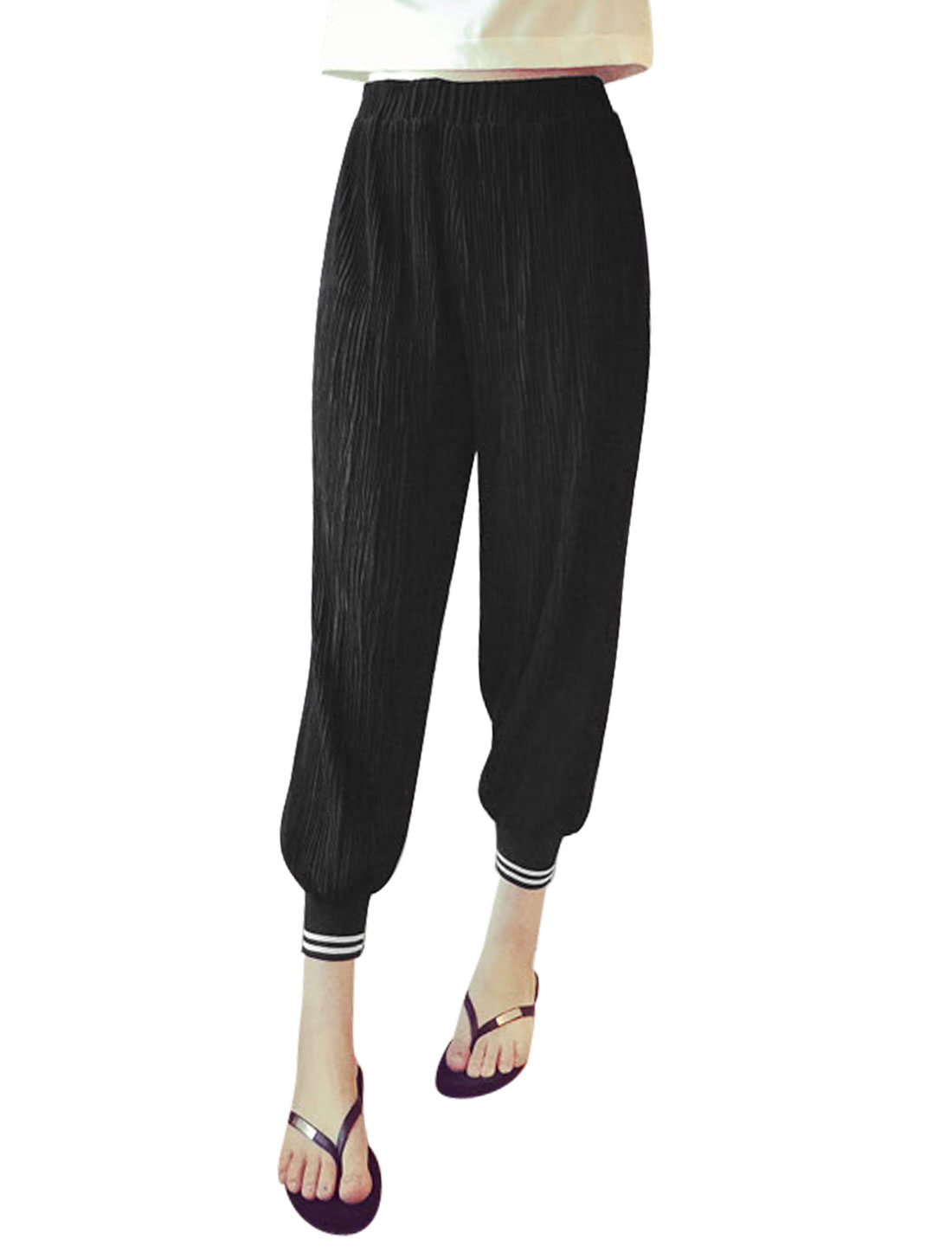Women Mid Rise Semi Sheer Partial Lined Chiffon Pants Black XS