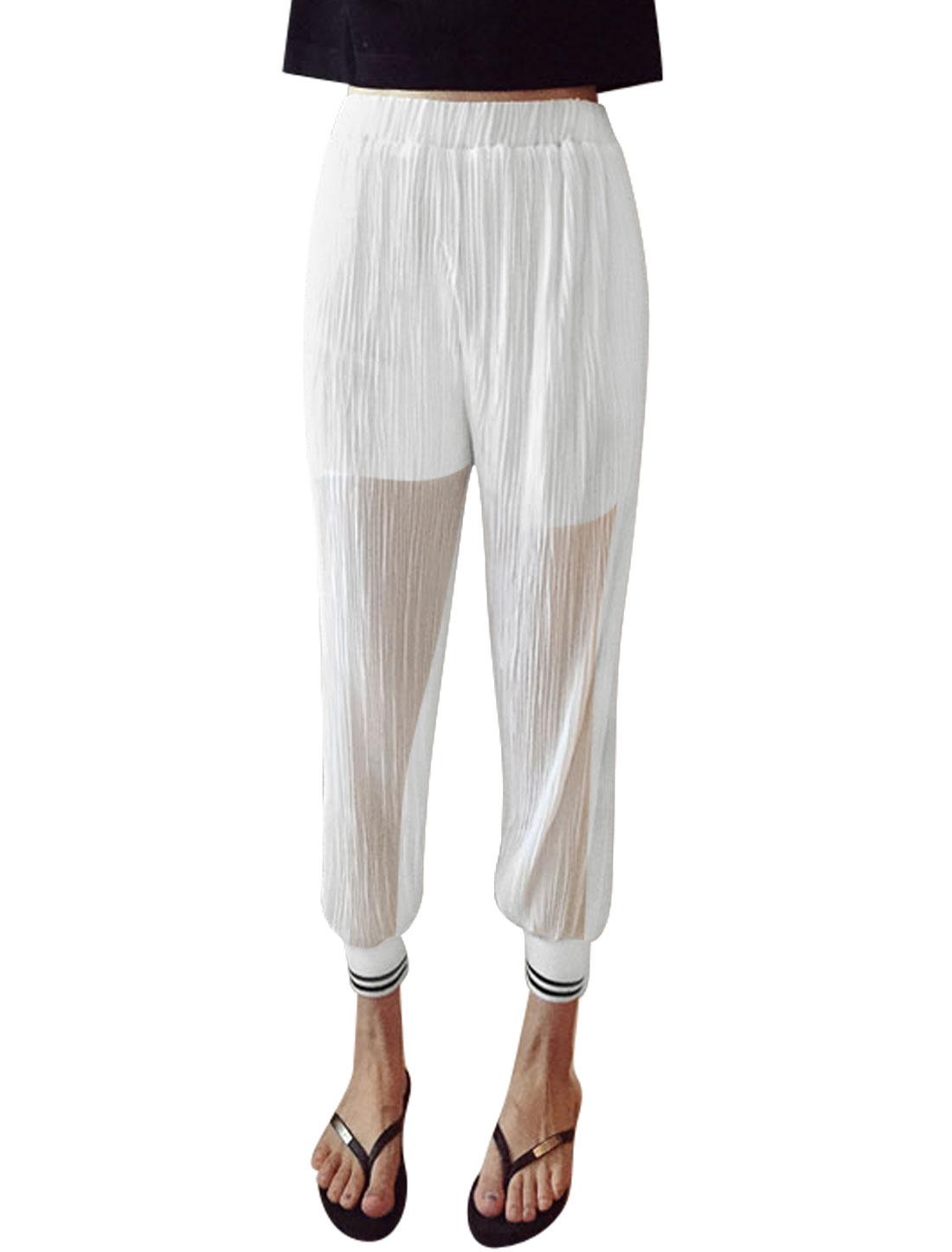 Women Elastic Waist Semi Sheer Partial Lined Chiffon Trousers White XS
