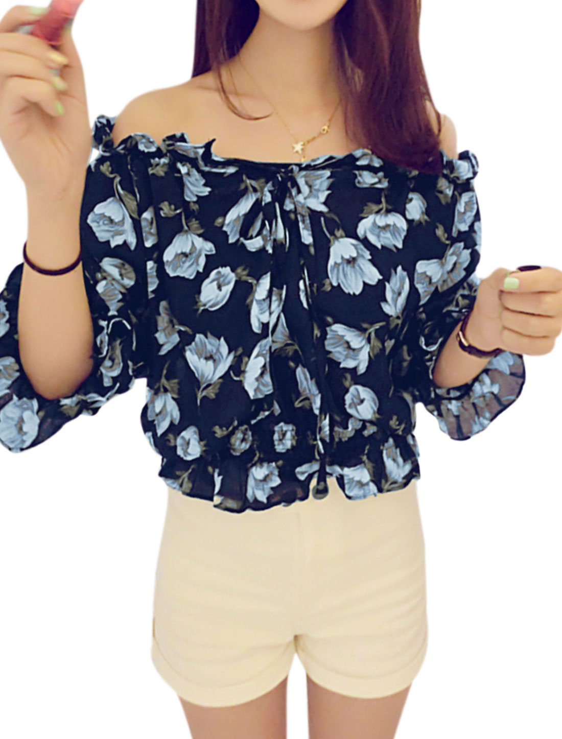 Woman Flower Prints Off The Shoulder 3/4 Sleeves Chiffon Top Navy Blue XS