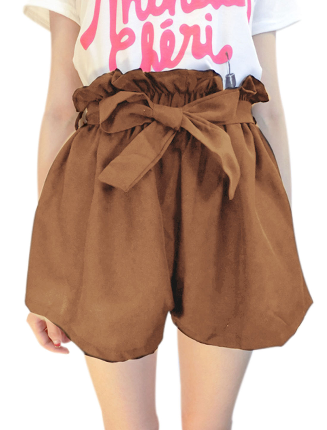 Woman Ruffled Elastic Waist Belt Loop belted Shorts Camel XS