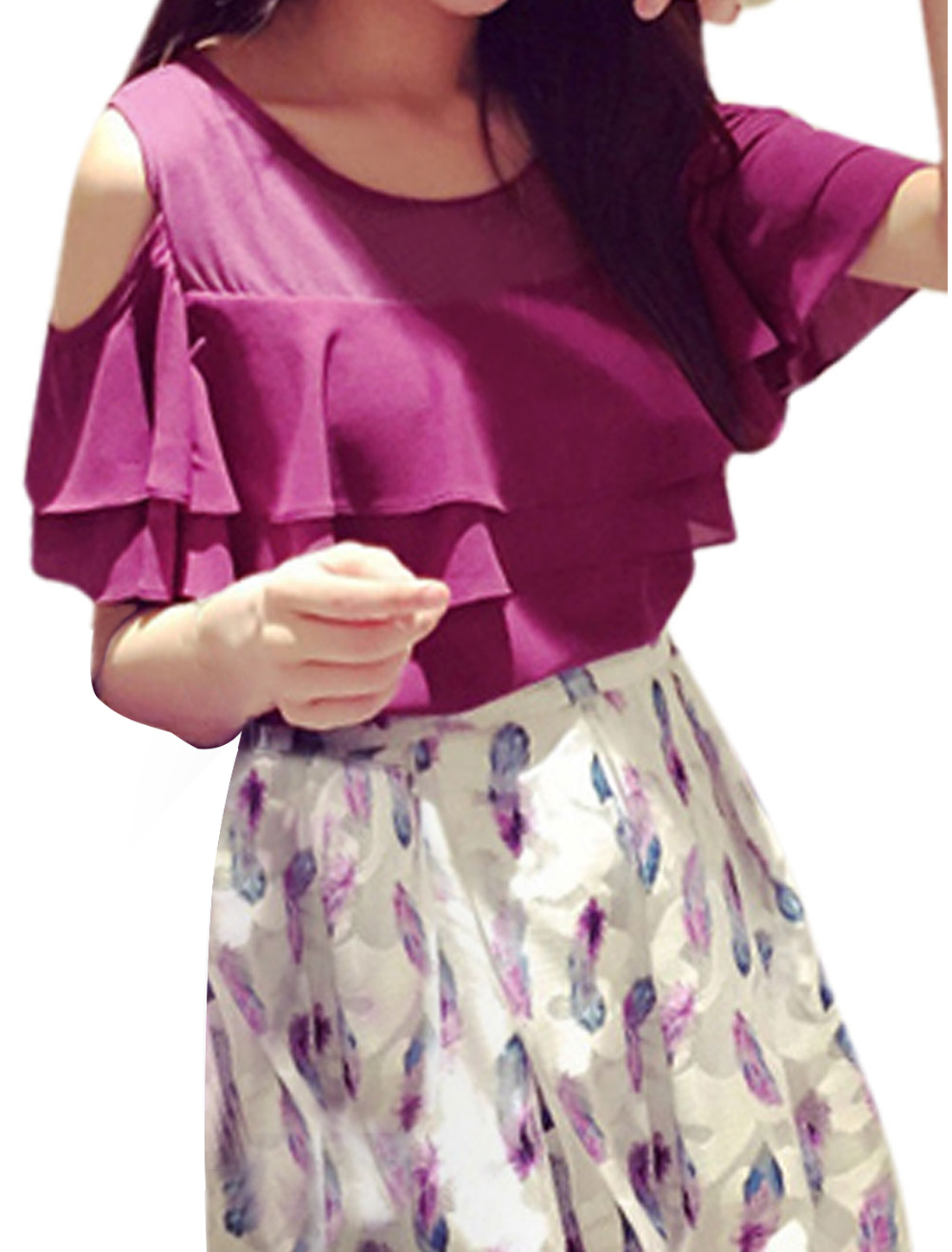 Woman Cut Out Shoulder Flouncing Upper Round Neck Chiffon Top Purple XS