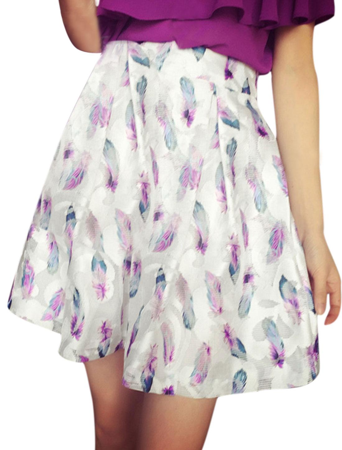 Woman Feather Pattern Playful Pleats Elastic Waistband Skirt White XS