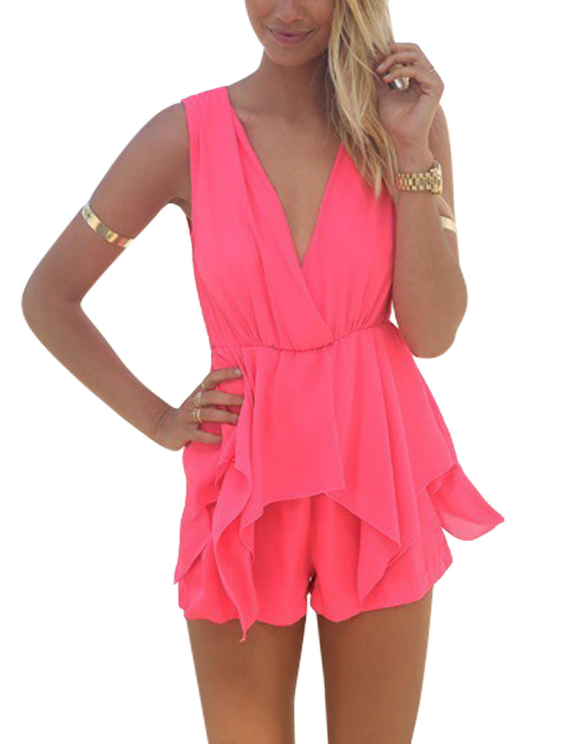 Woman Sleeveless Crossover V Neck Elastic Waist Sexy Playsuit Deep Pink XS