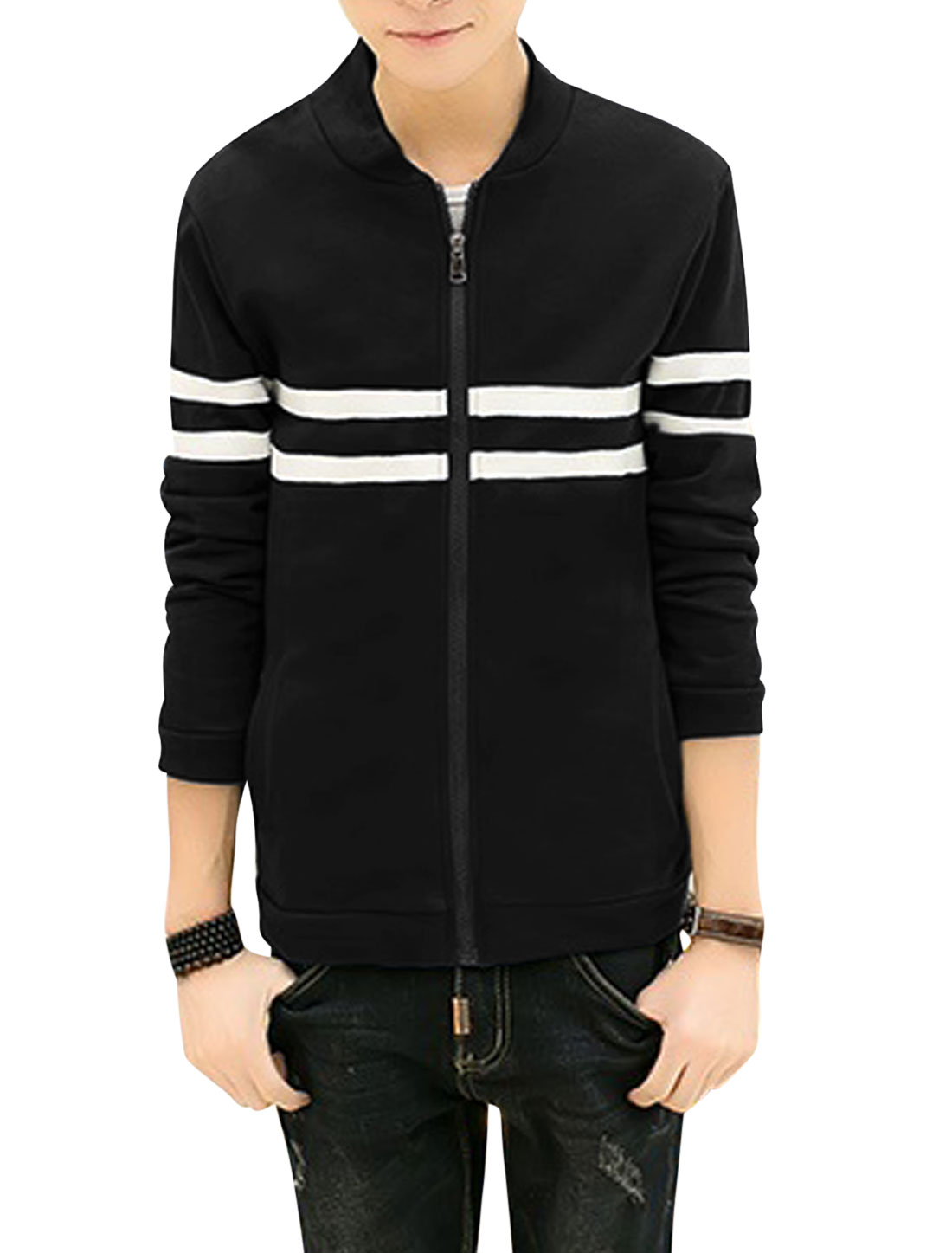Men Stripes Detail Stand Collar Long Sleeves Zip Up Jackets Black M