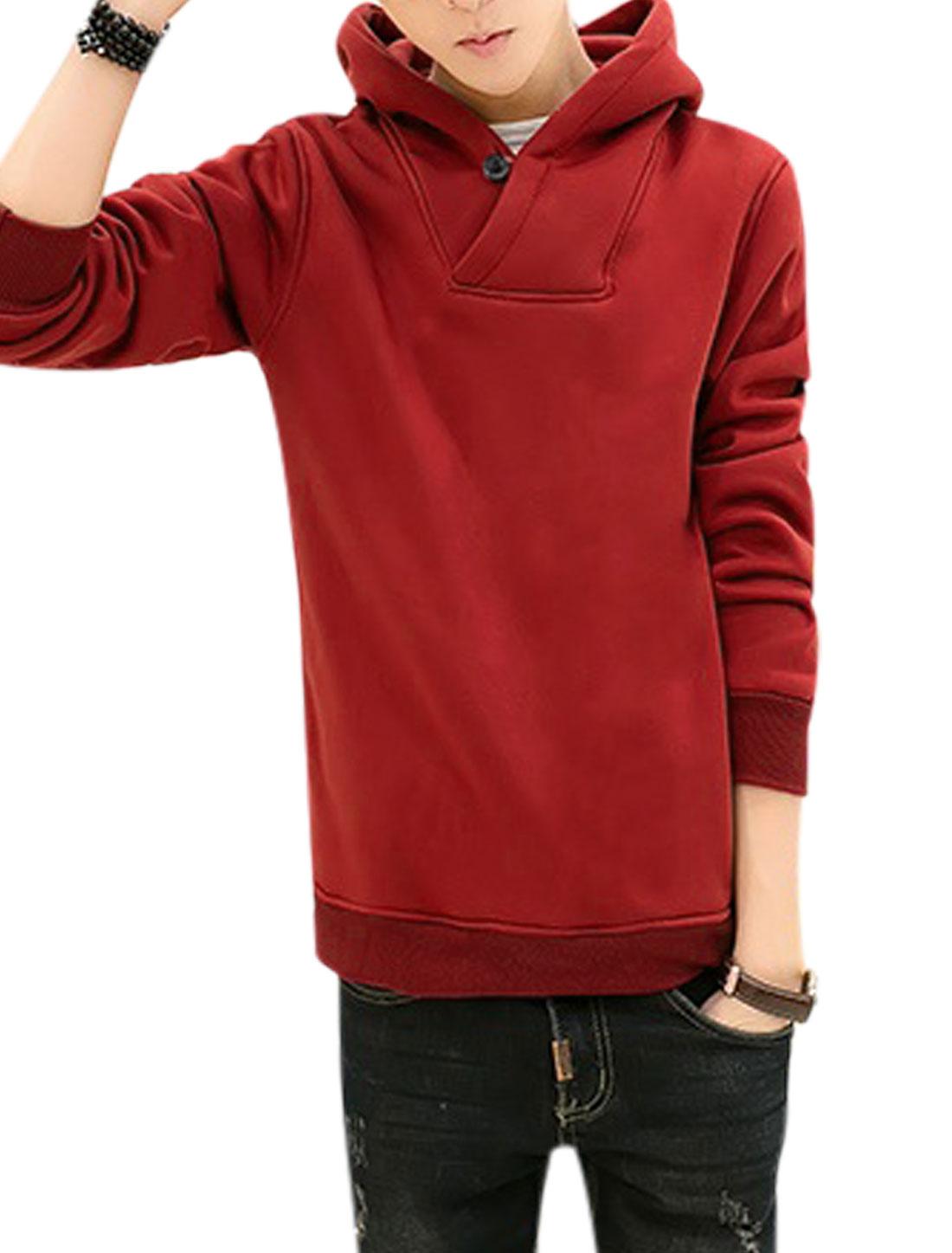 Men Long Sleeves Two Seam Pockets Casual Hooded Sweatshirts Warm Red M