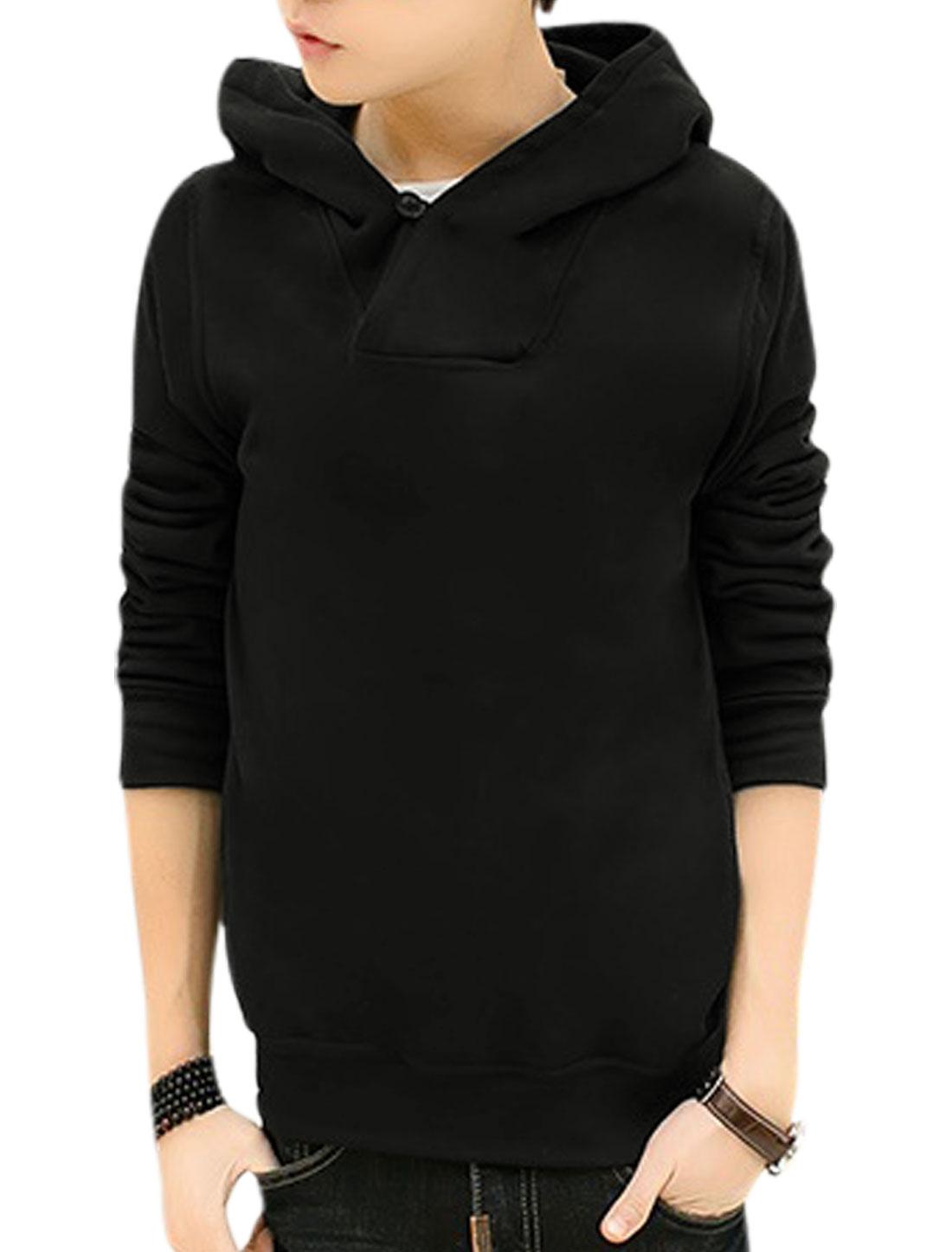 Men Hooded Button Loop Closed Casual Sweatshirts Black M