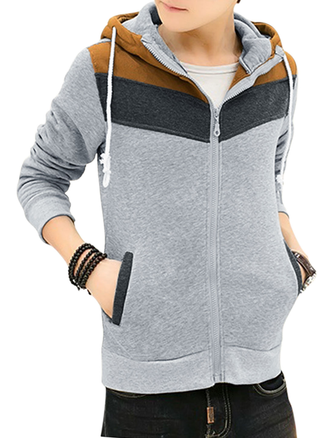 Men Zip Closure Contrast Color Front Pockets Casual Hoodie Jacket Light Gray M