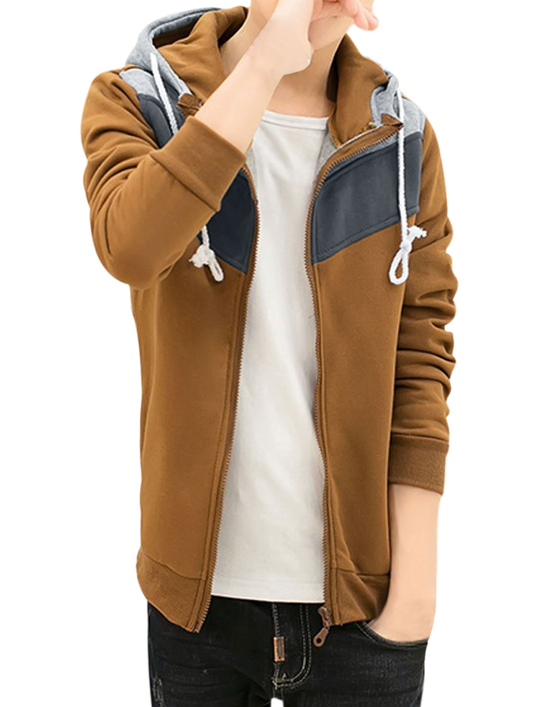 Men Zip Up Contrast Color Long Sleeve Pockets Hoodie Jackets Ochre M