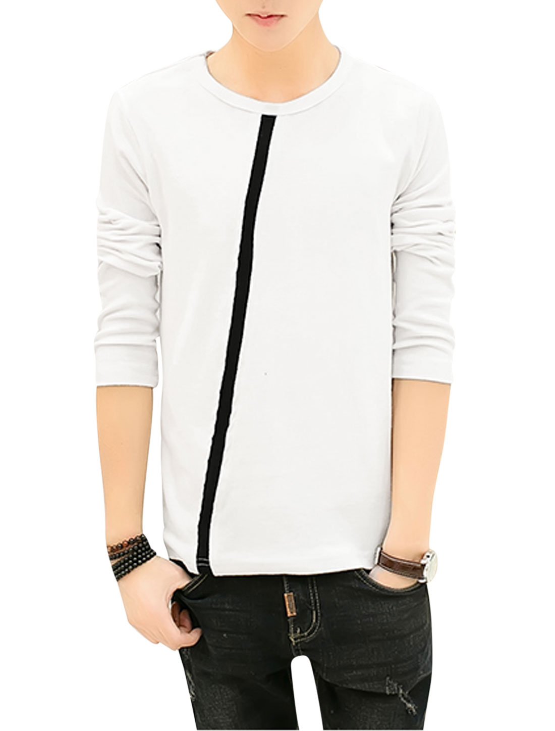Man Inclined Stripe Design Long Sleeves Round Neck Casual Top White S