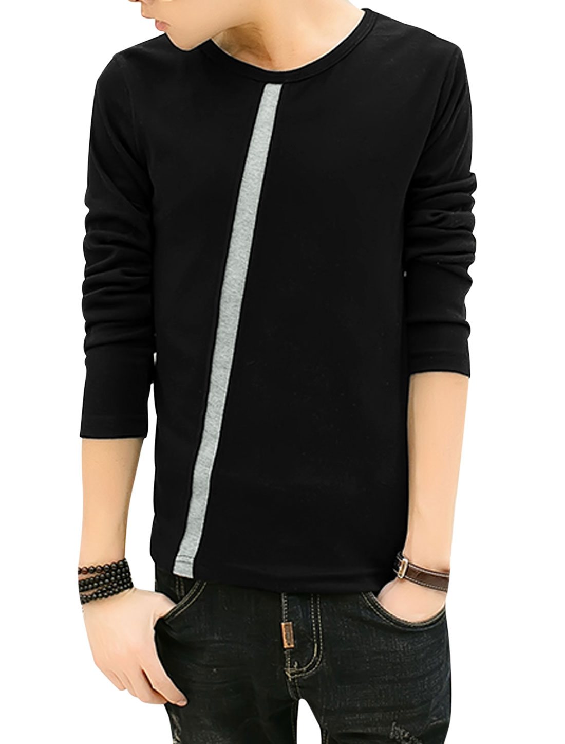 Man Inclined Stripe Design Long Sleeves Round Neck Tee Black S