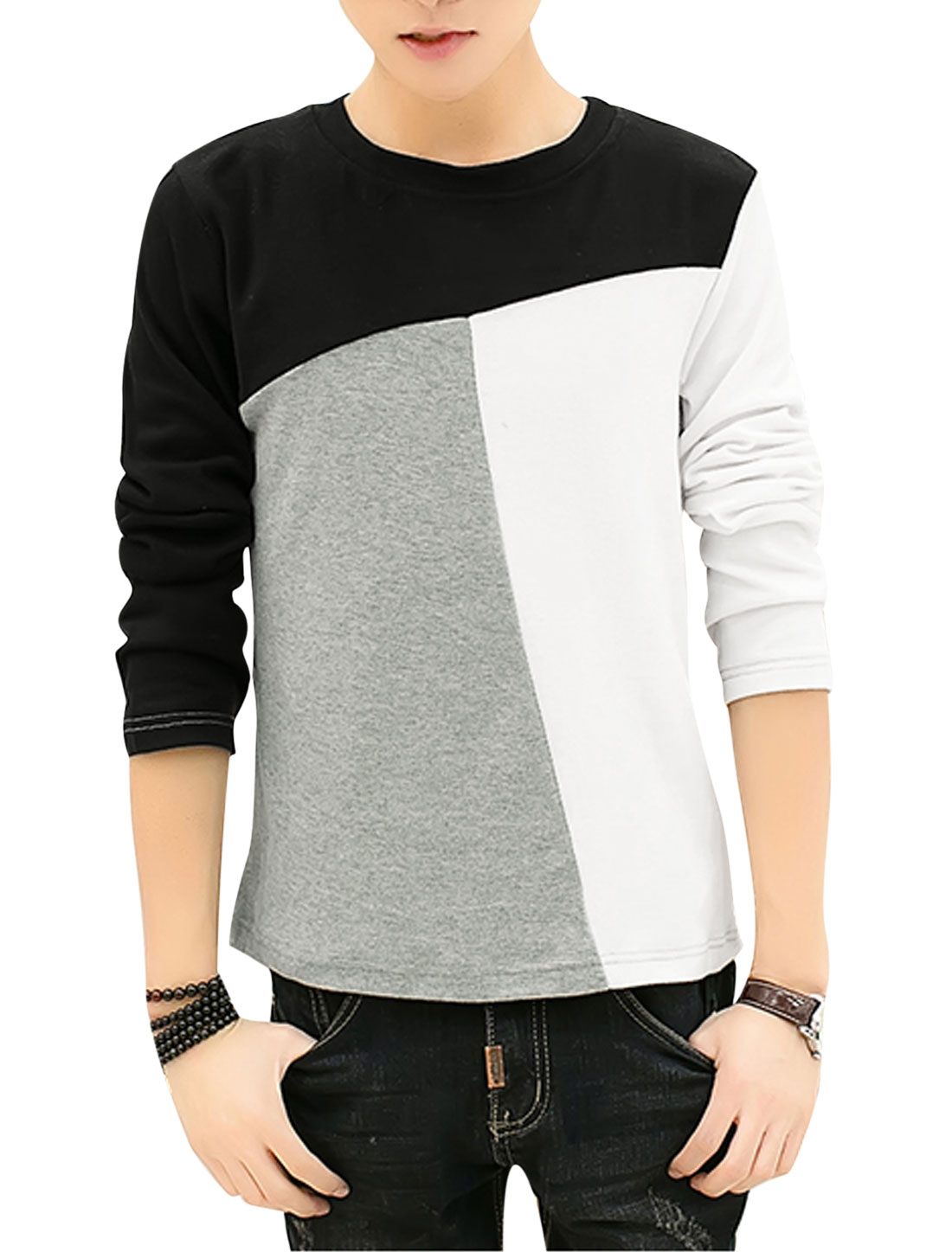 Man Color Block Round Neck Long Sleeves Leisure Tee White Black S