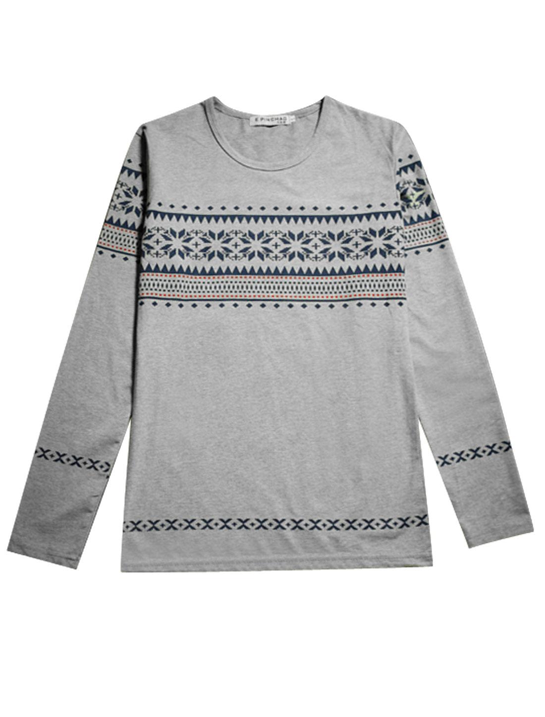 Man Long Sleeves Geometric Prints Leisure T-Shirts Gray M