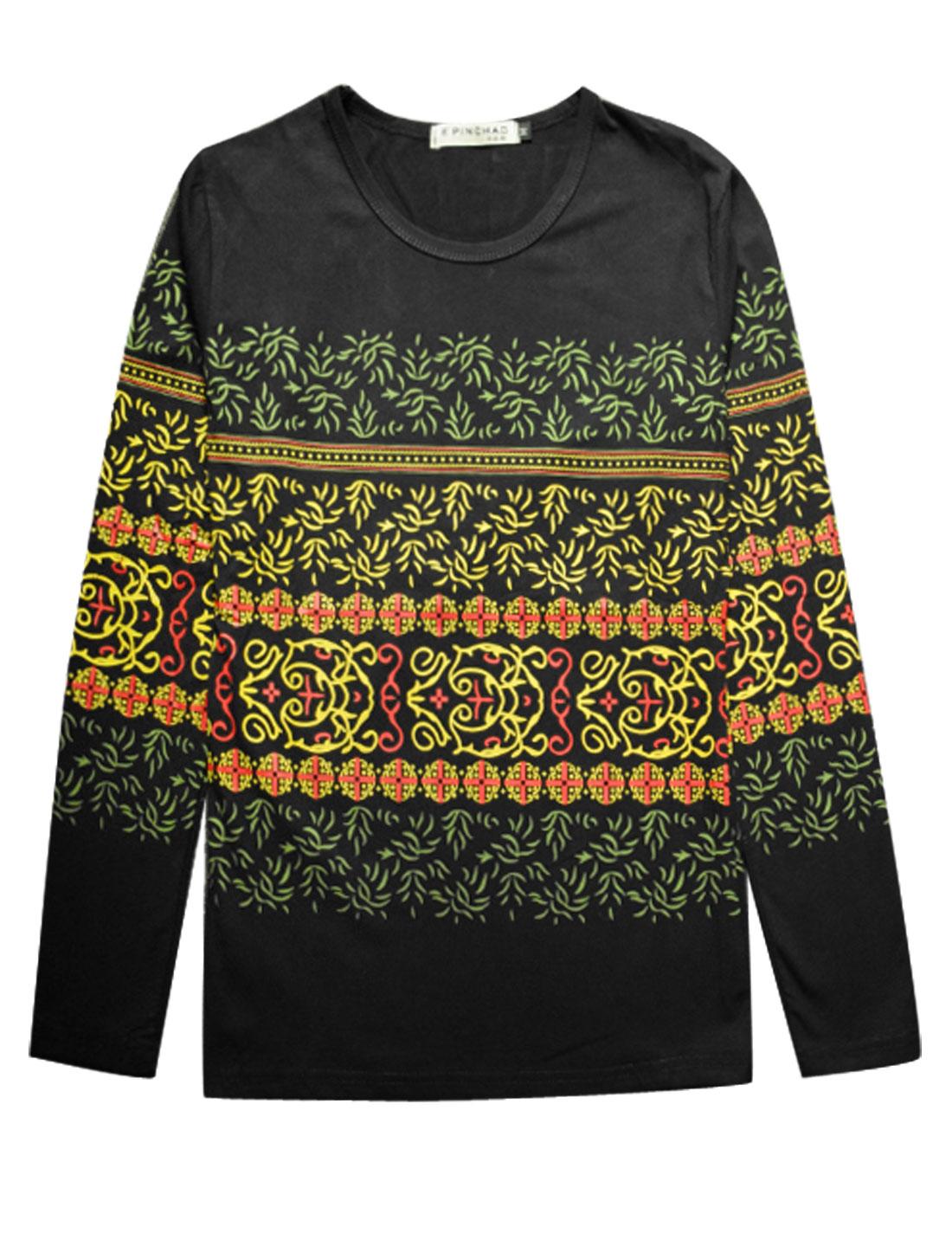 Man Long Sleeves Novelty Prints Slipover T-Shirts Black M