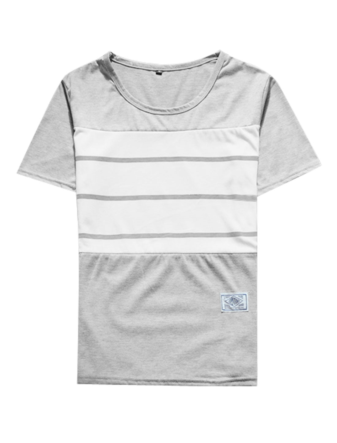 Men Short Sleeve Contrast Color Stretchy T-Shirts Light Gray White M