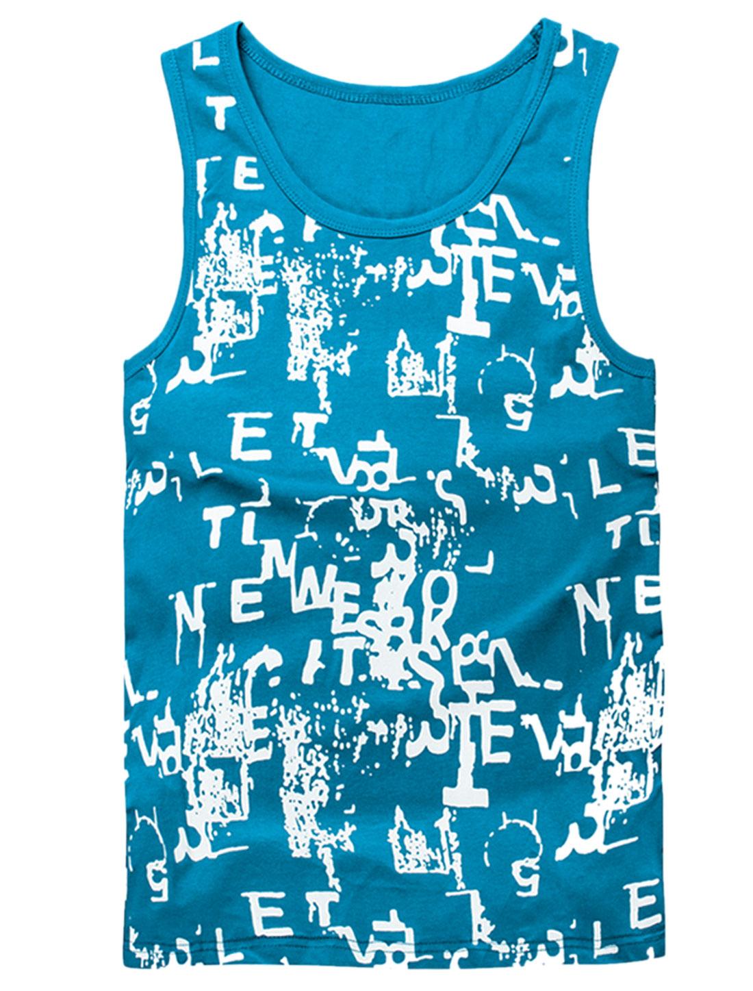 Men Scoop Neck Sleeveless Novelty Print Casual Tank Top Blue M