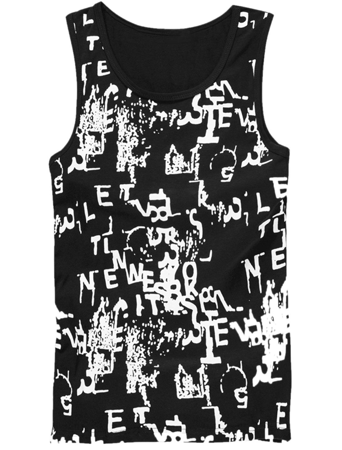 Men Scoop Neck Sleeveless Novelty Print Leisure Tank Tops Black M