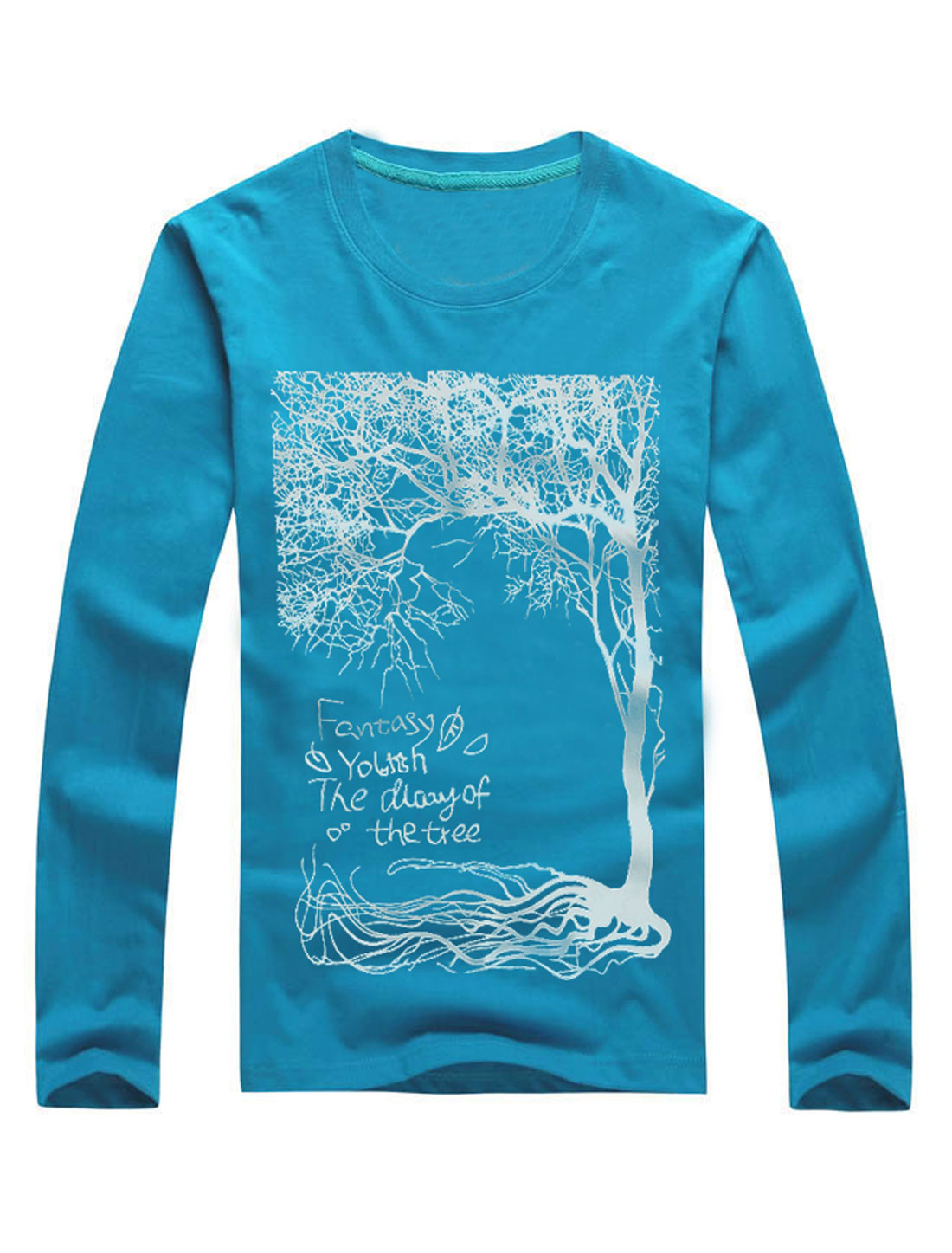 Men Round Neck Long Sleeves Tree Prints Casual T-Shirts Turquoise M