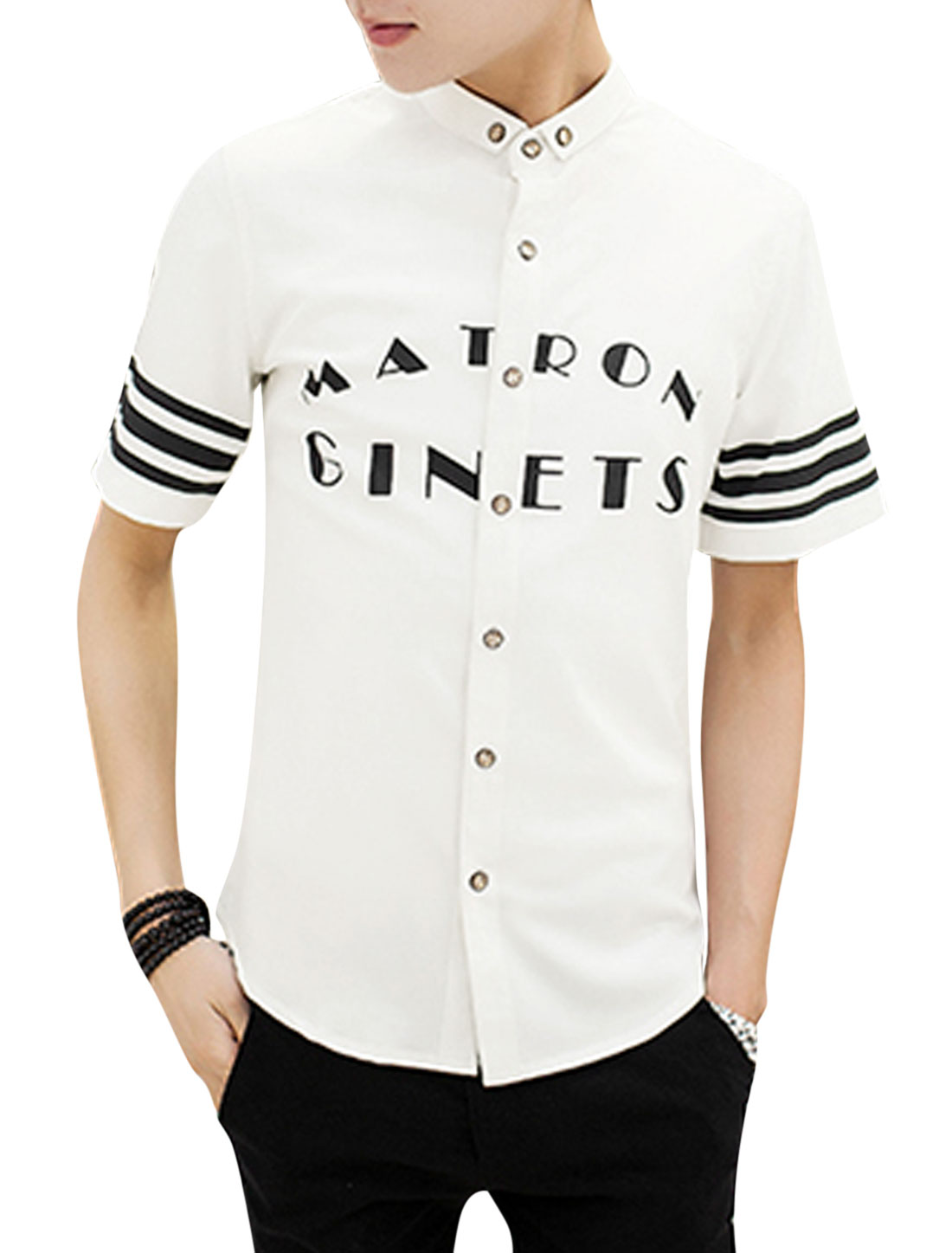 Men Button Down Short Sleeve Point Collar Letters Stripes Print Shirts White M