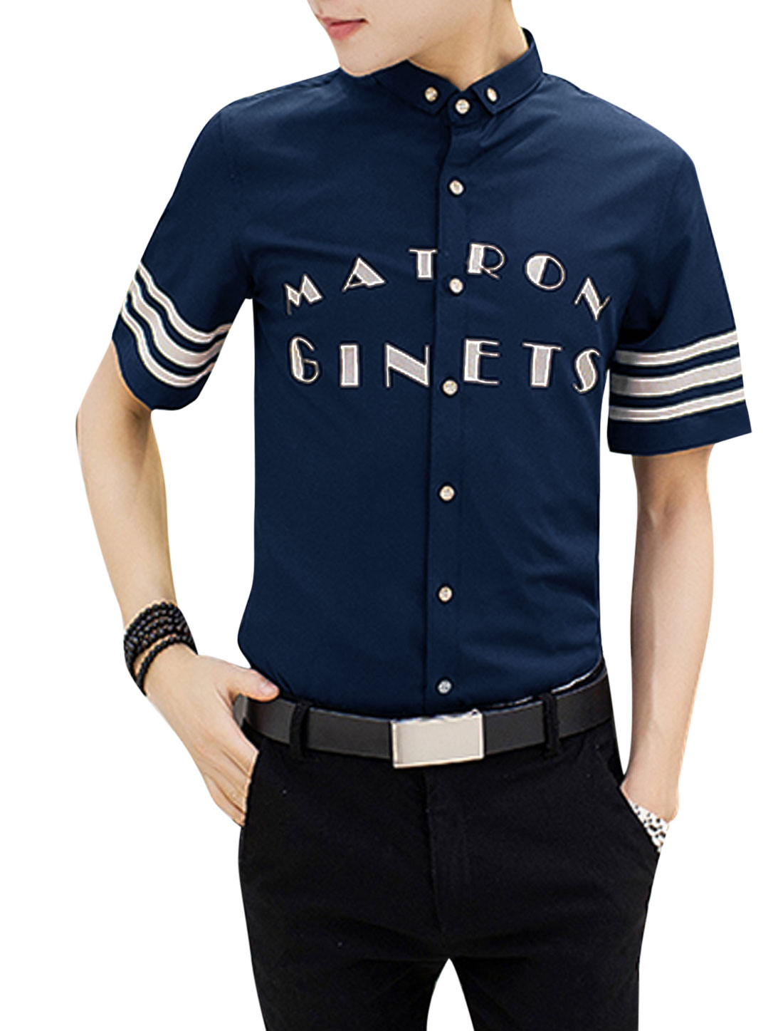 Men Button Down Point Collar Letters Stripes Print Shirts Navy Blue M